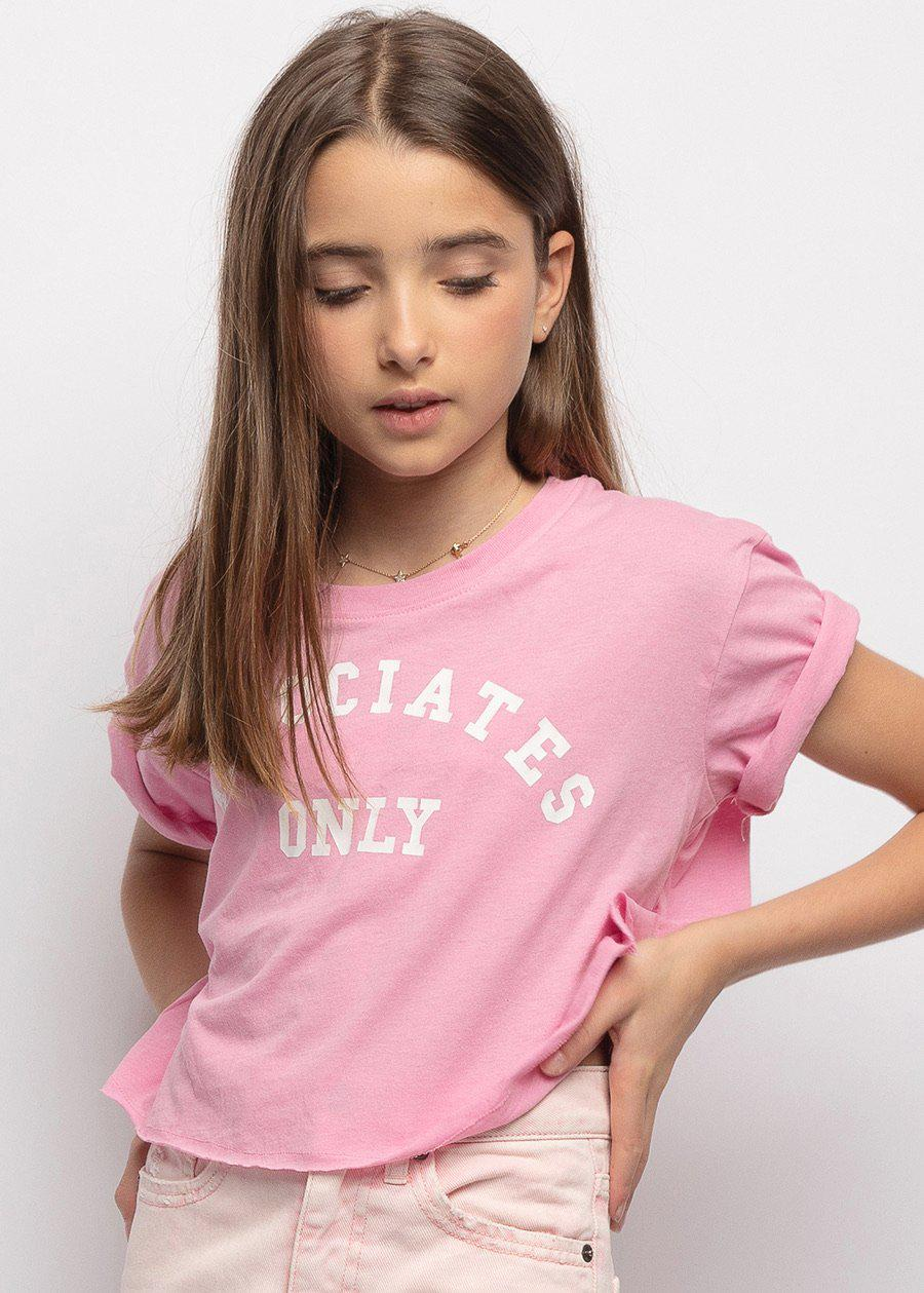 Girls Associates Only Pink College T-shirt-TeenzShop