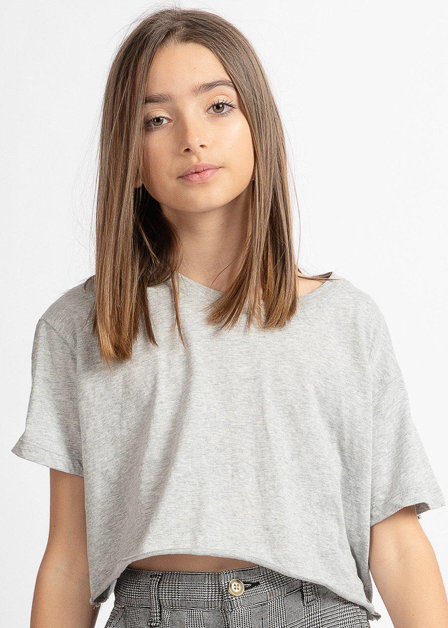Girls Salt-N-Pepa Grey Cropped T-shirt-TeenzShop