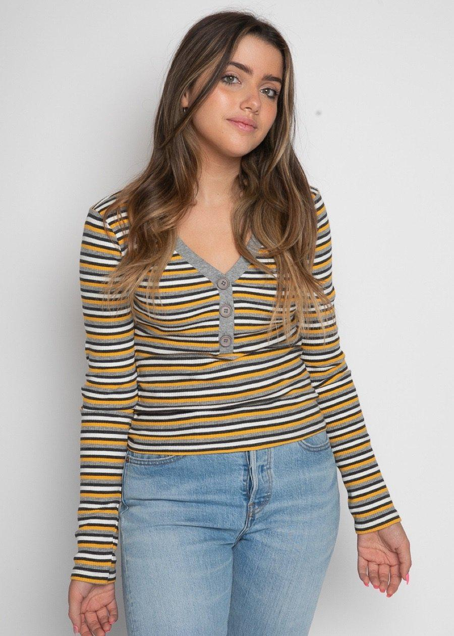 Girls Grey & Yellow V-Neck Striped Rib Top-TeenzShop