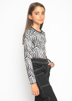 Girls Animal Print Long Sleeve Top