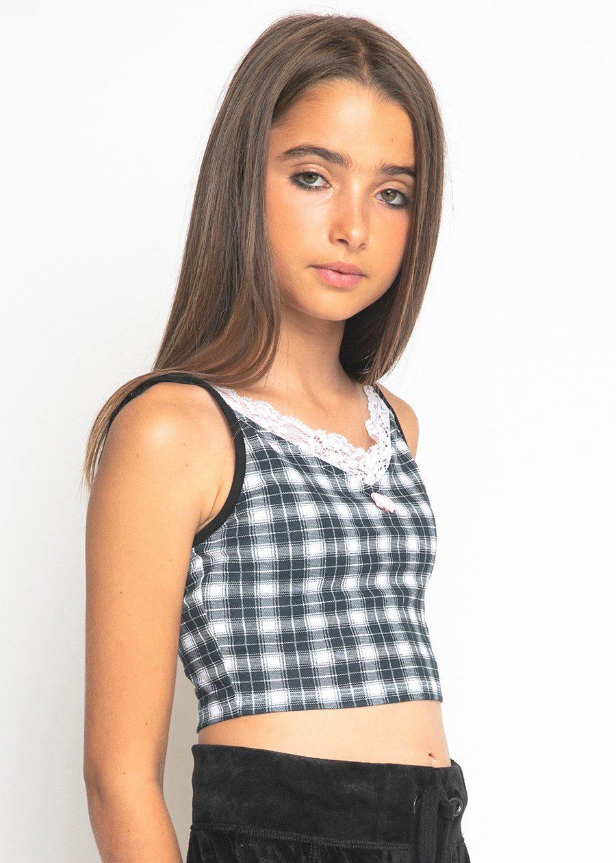 Black & White Checkered Vest Top