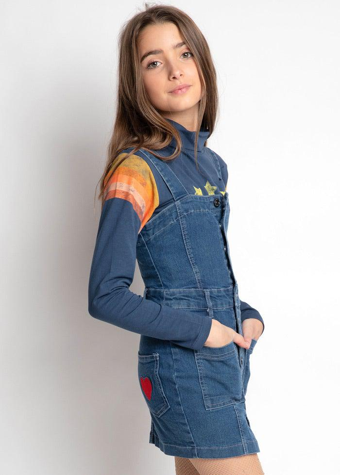 Girls Denim Dress With Heart Embroidery-TeenzShop