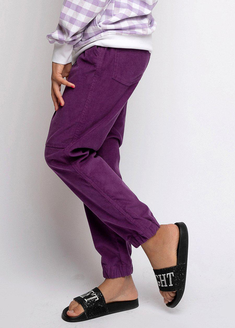 Purple Corduroy Cargo Trousers