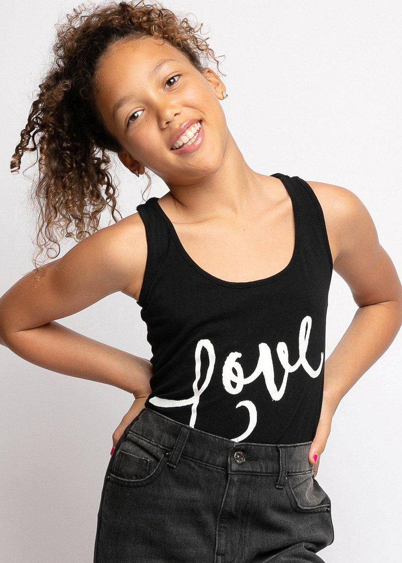 Youth Girls Black Love Tank Top
