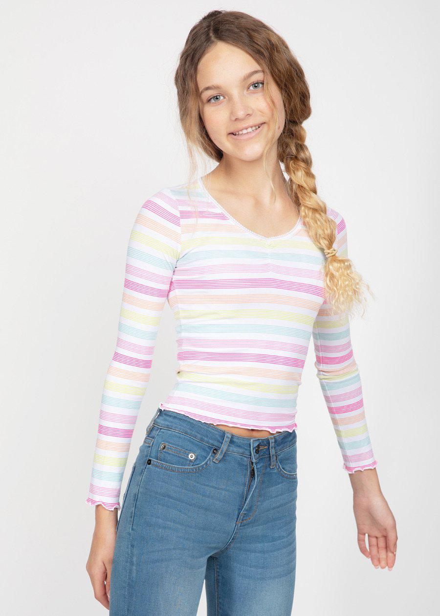 Girls Candy Stripes Elastic Long Sleeve Ballet Top
