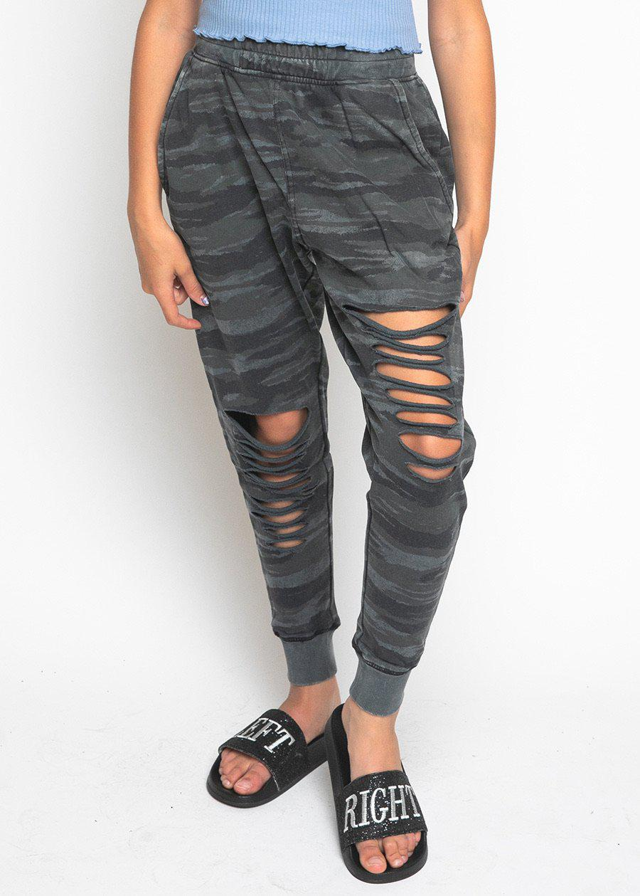 Girls Camo Basic Ripped Joggers