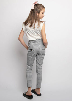 Youth Girls Black and White Checkered Skinny Jeans with Eye Embroidery