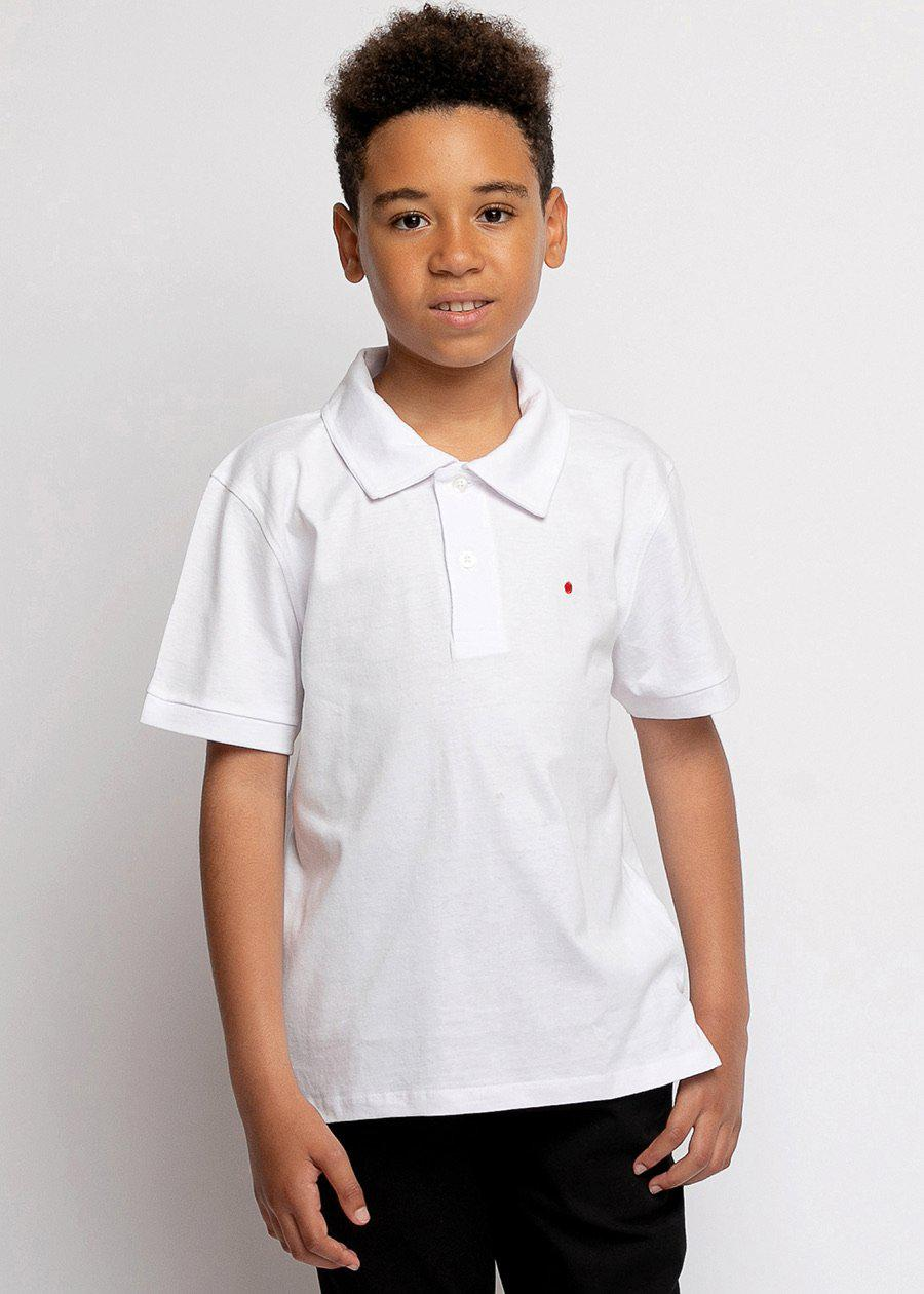 Boys White and Black Short Sleeve Security Polo Shirt