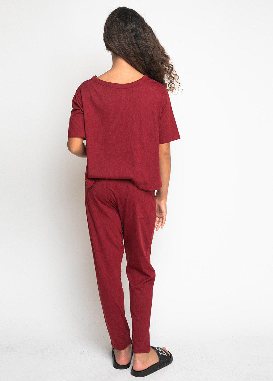 Girls Burgundy Pyjama Set