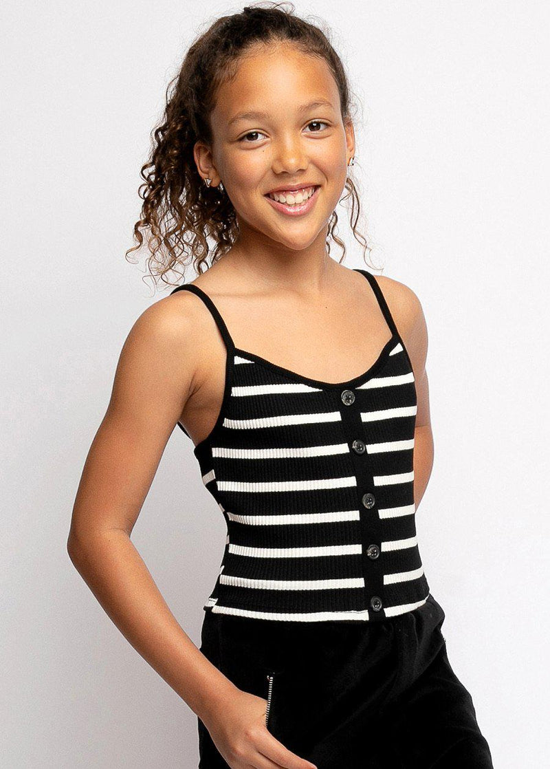 Girls Black and White Striped Knit Top