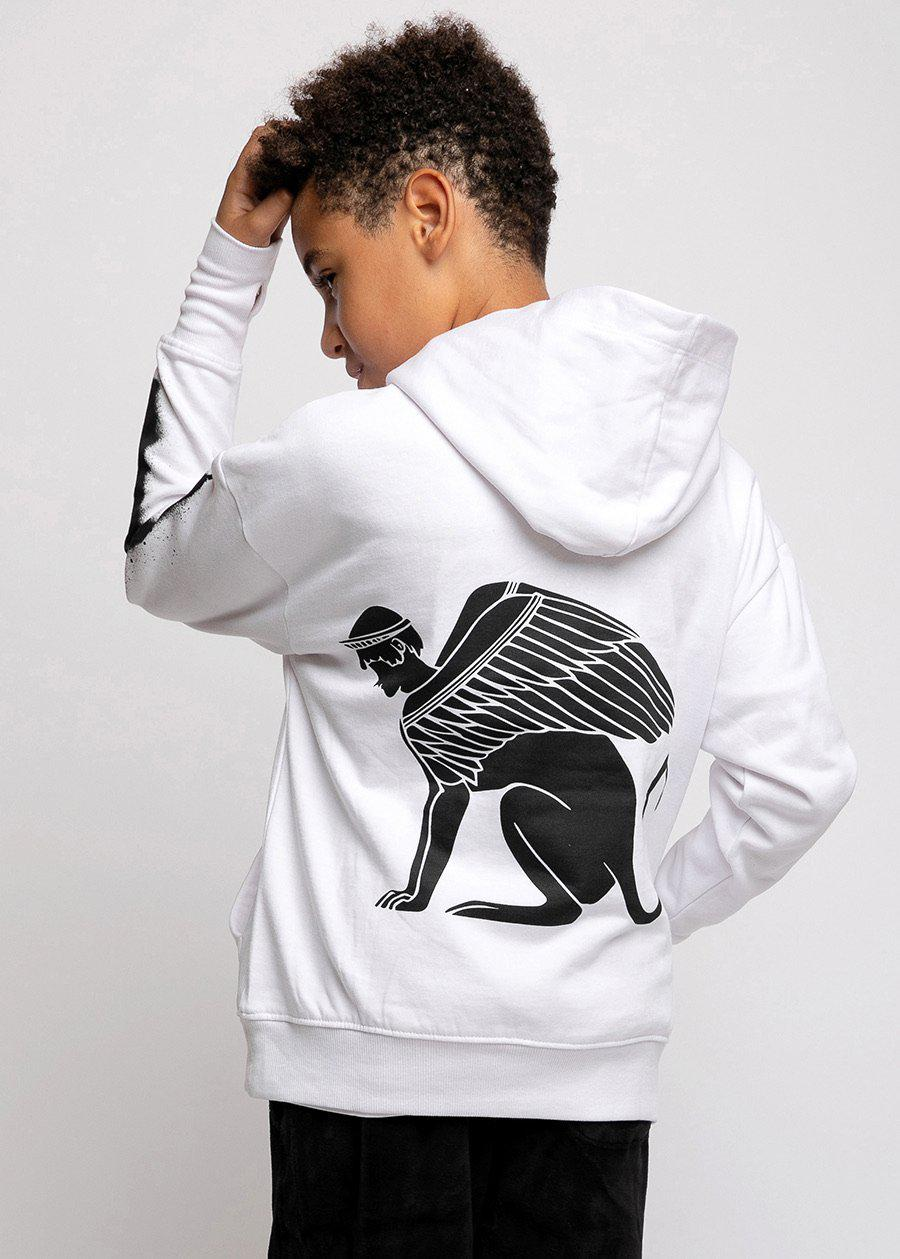 Boys White Sphinx Graphic Hoodie