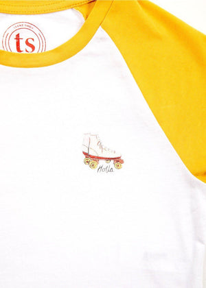 Girls Yellow Raglan Skates Print T-shirt-TeenzShop