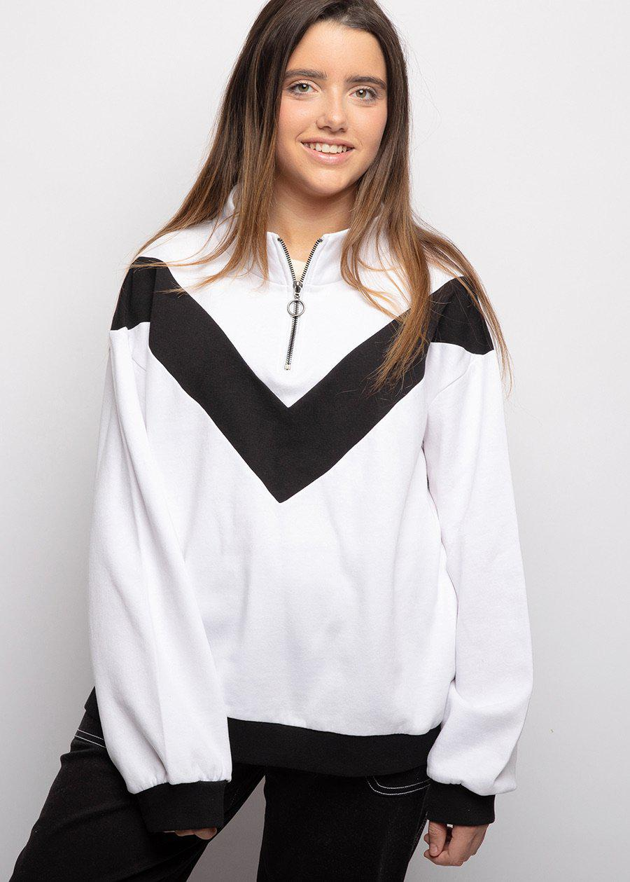 Youth Girls White Half Zip Champ Sweatshirt