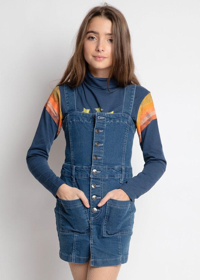 Youth Girls Denim Dress With Heart Embroidery