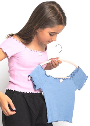 Girls Twin Pack Bardot Top Lilac/Blue