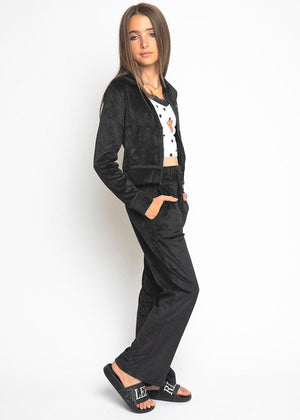 Girls Black Velour Tracksuit Set