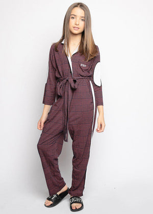 Youth Girls Burgundy Checker Boilersuit With Contrast Stripe