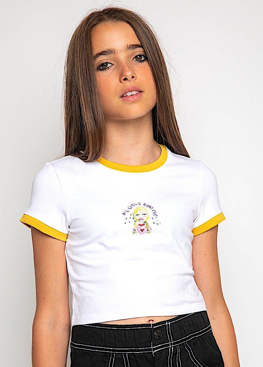 Big Girls Don't Cry Yellow Cropped T-shirt-TeenzShop
