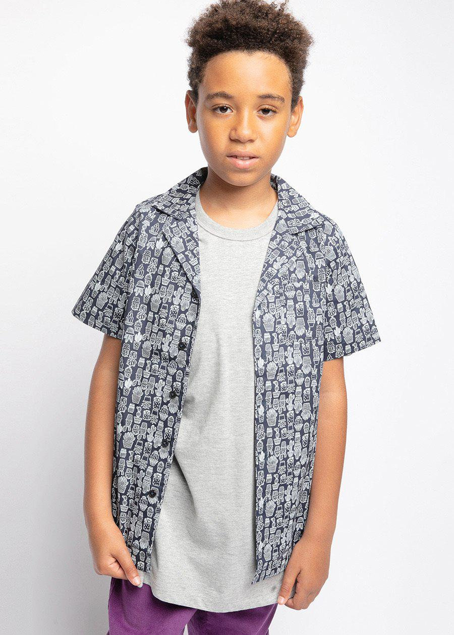 Boys Navy Cactus Short Sleeve Cabana Shirt-TeenzShop
