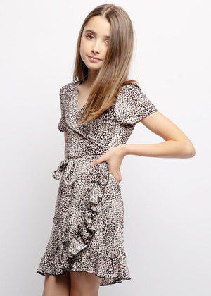 Girls Animal Print Wrap Frill Dress