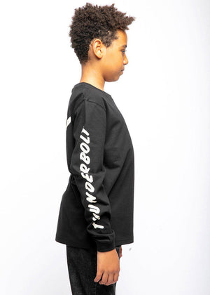 Youth Boys Long Sleeve Slogan T-Shirt Black