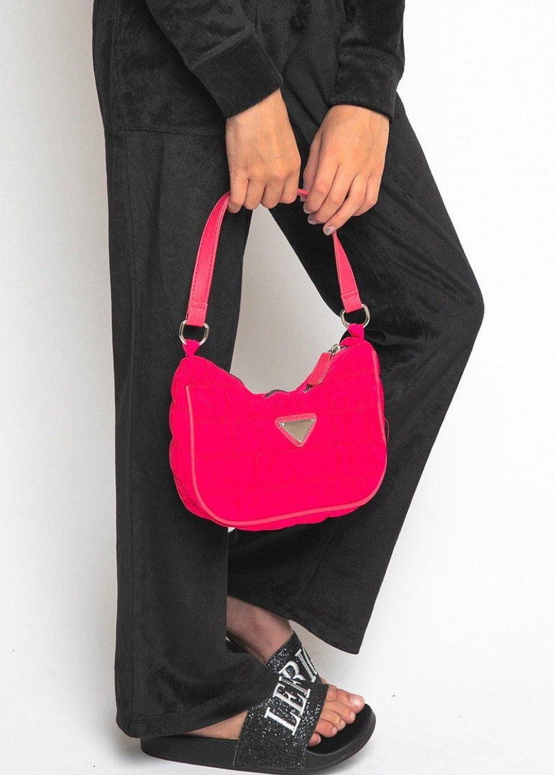 Pink Ruched Nylon Shoulder Bags