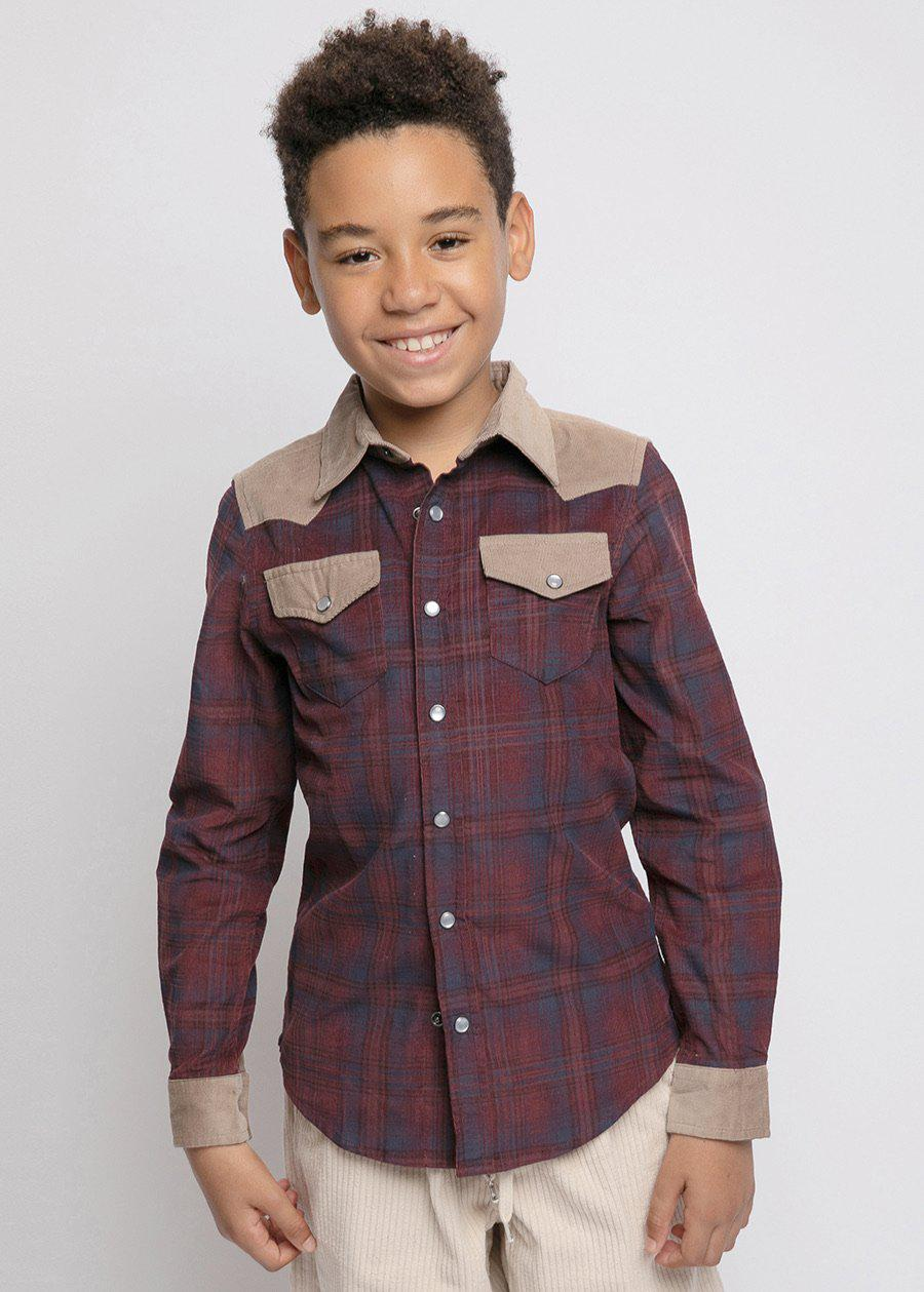 Boys Plaid and Tan Cowboy Shirt-TeenzShop