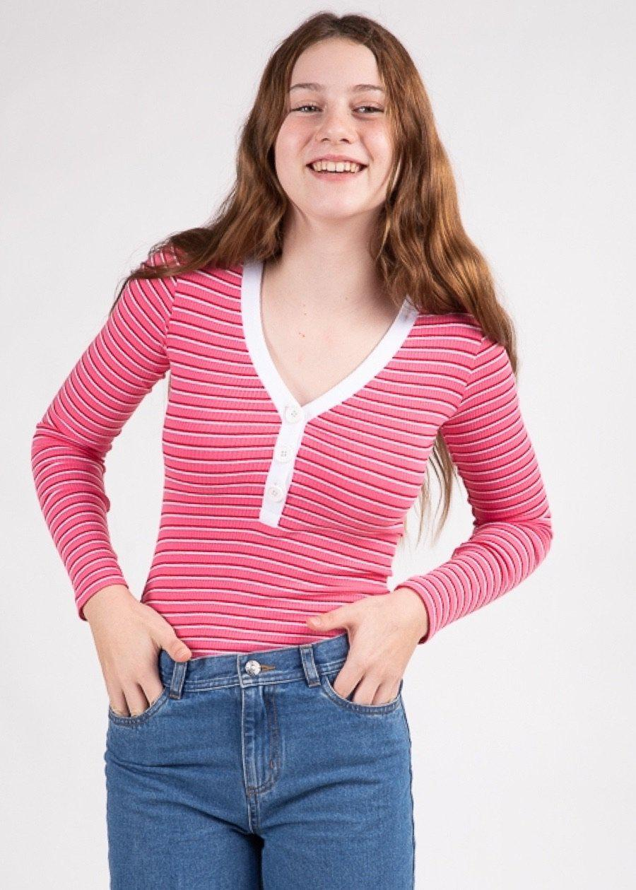 Youth Girls Pink Long-Sleeve Ribbed V-Neck Top - SUSTAINABLE FABRIC