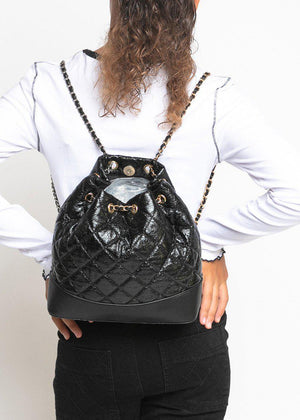 Black Quilted Faux Leather Mini Backpack With Chain Straps