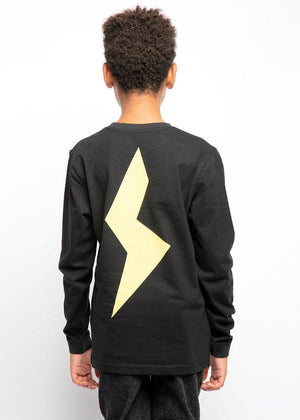 Youth Boys Black Long Sleeve Yellow Thunderbolt T-Shirt