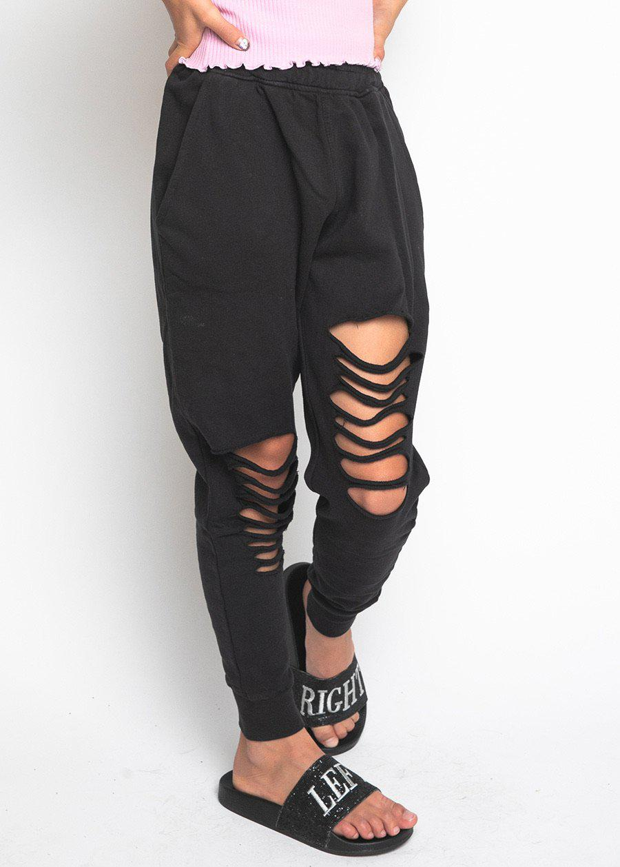 Girls Black Basic Ripped Joggers-TeenzShop