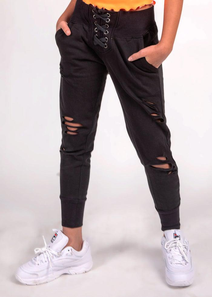 Girls Lace-Up Front Ripped Joggers-TeenzShop