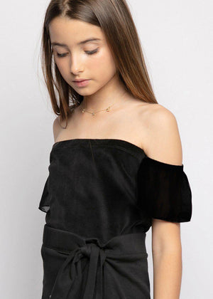 Girls Black Velour Bardot Top