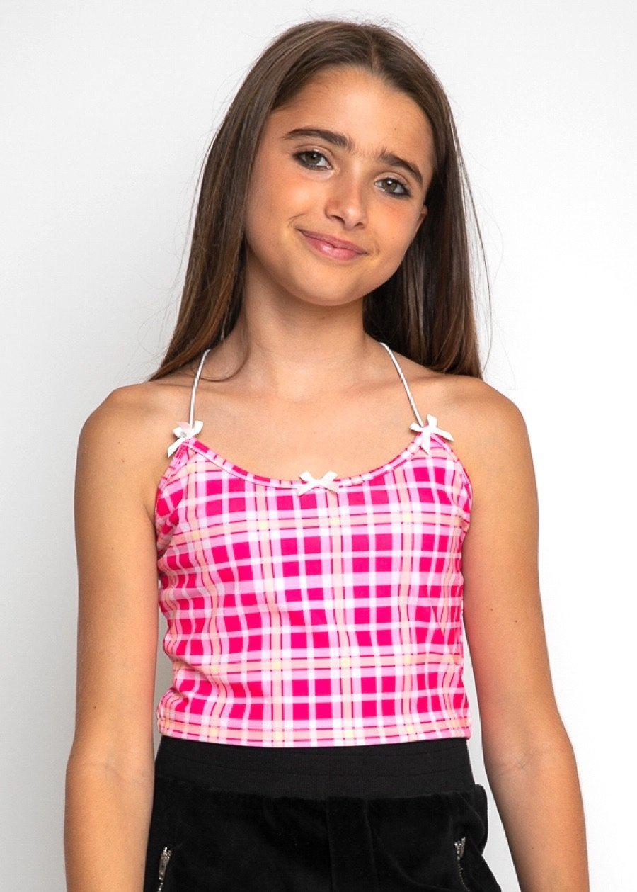 Girls Pink Checkered Cami Top-TeenzShop