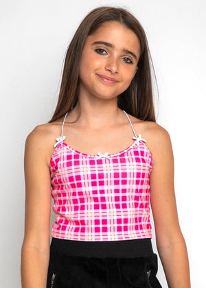 Pink Checkered Cami Top