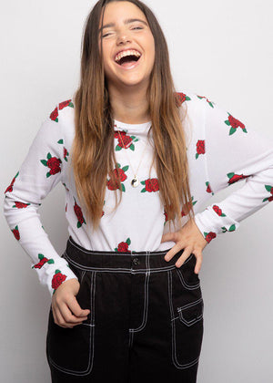 Youth Girls Long Sleeve Roses Waffle Top - SUSTAINABLE FABRIC