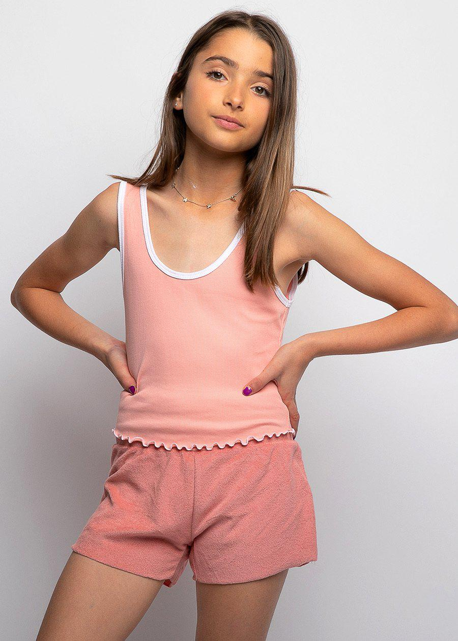 Youth Girls Coral Orange Terry Shorts