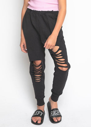 Youth Girls Black Basic Ripped Joggers