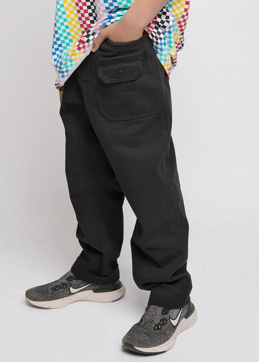 Youth Boys Black Cotton Cargo Trousers - SUSTAINABLE FABRIC