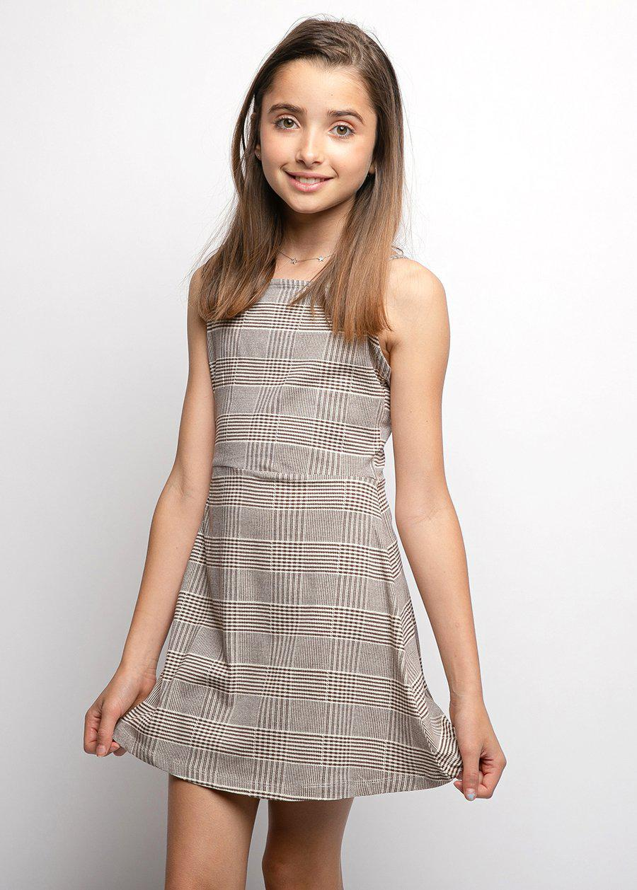 Youth Girls Beige Check Clueless Dress