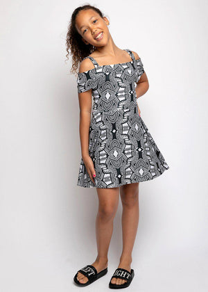 Youth Girls Geometric Print Cold Shoulder Cotton Skater Dress - SUSTAINABLE FABRIC