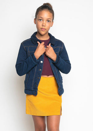 Girls Yellow Corduroy Slit Skirt-TeenzShop