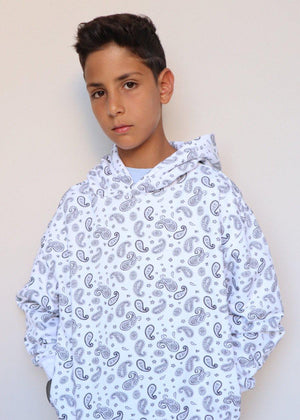 Youth Boys White Soft Cotton Paisley Print Oversized Hoodie