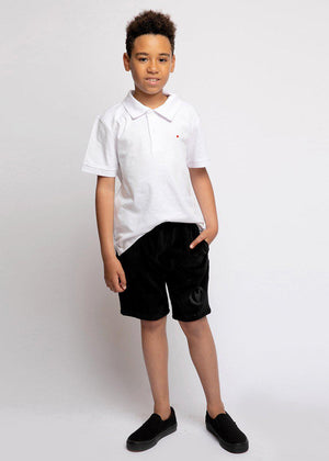 Youth Boys Velour Shorts With Logo