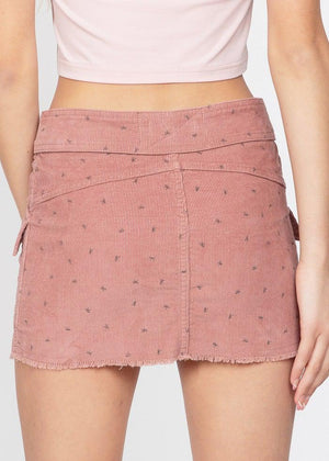 Girls Pink Belted Button Down Mini Skirt