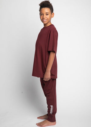 Boys Burgundy Barcode Pyjama Lounge Set-TeenzShop