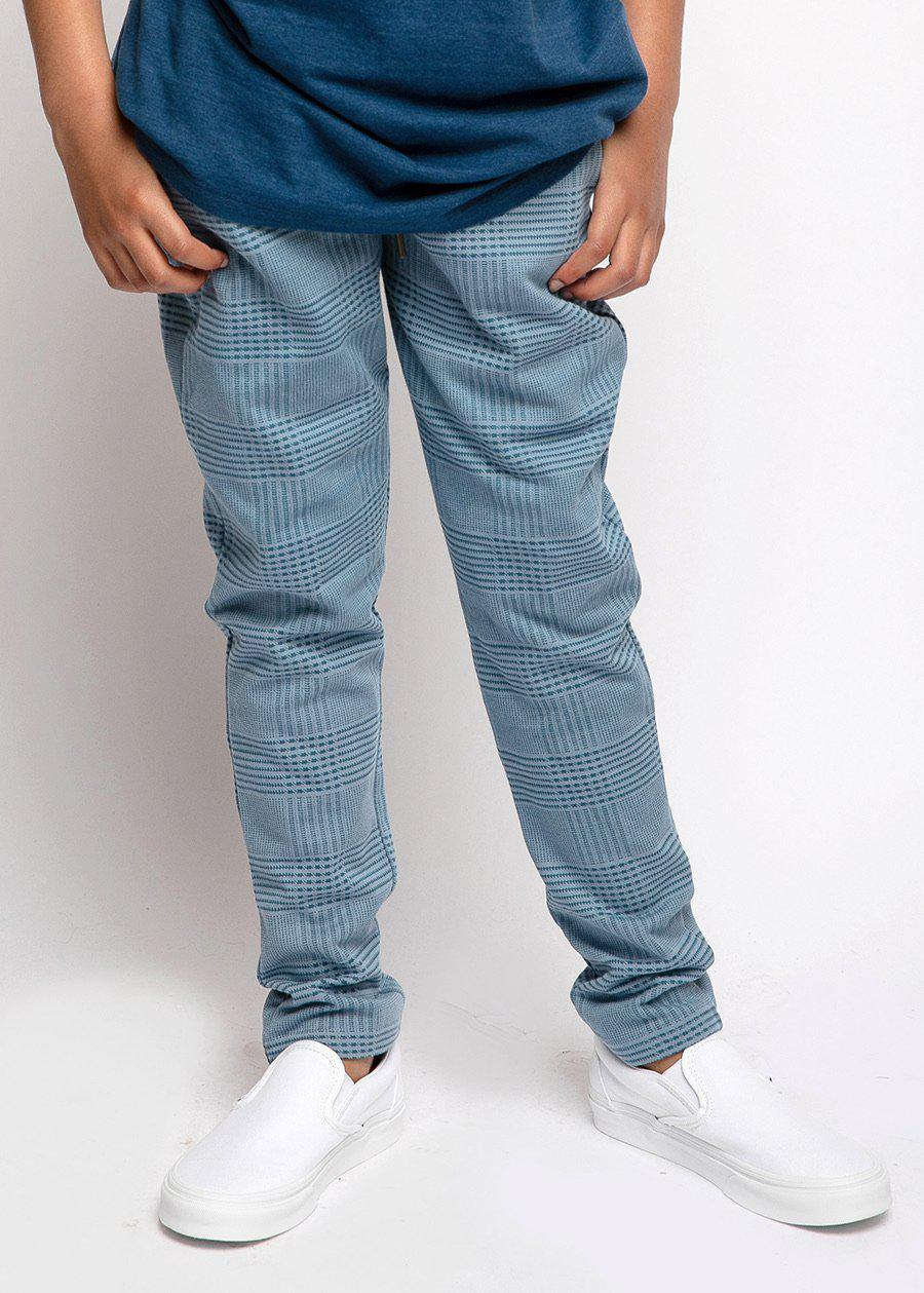 Boys Blue Checkered Joggers-TeenzShop