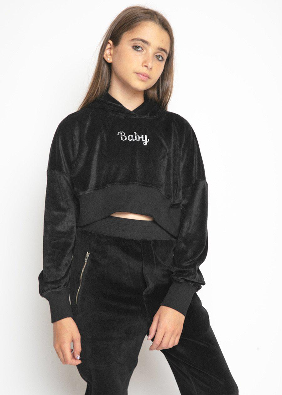 Girls Black Velour Crystal Cropped Hoodie