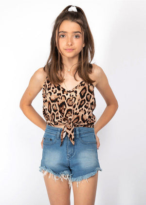 Girls Spaghetti Cropped Leopard Print Tank Top-TeenzShop