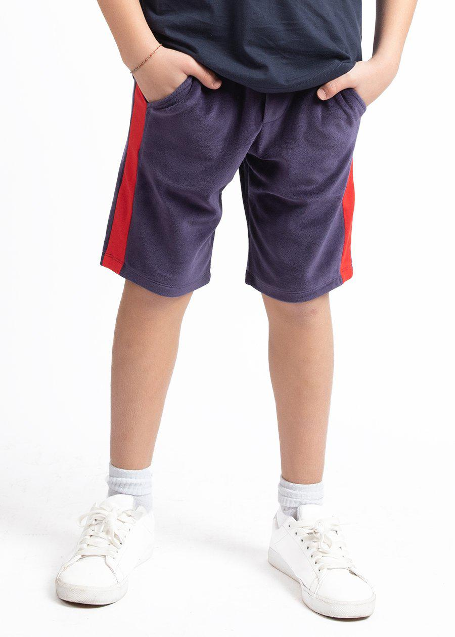 Boys Navy Velour Side Stripe Shorts